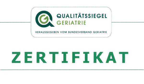 Zertifikat Qualitatssiegel Geriatrie